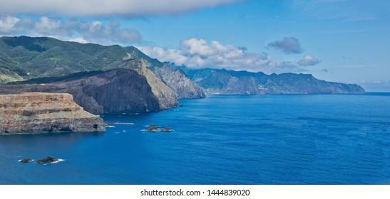 Best panoramic view to Point of Saint Lawrence (portugal Ponta de São Lourenço) near Machico, Atlantic ocean view, Madeira island, Portugal in sunny summer day
