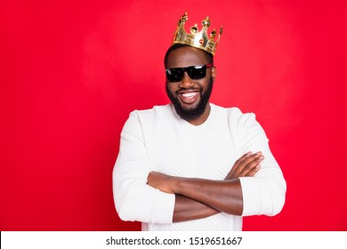 I am best! Portrait of confident afro american brown hair guy cross hands in eyeglasses arrogant achieve million dollars feel successful wear white king style jumper isolated red color background