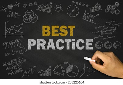 best practice concept on blackboard