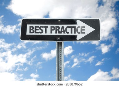 Best Practice direction sign with sky background