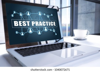 Best Practice text on modern laptop screen in office environment. 3D render illustration business text concept.