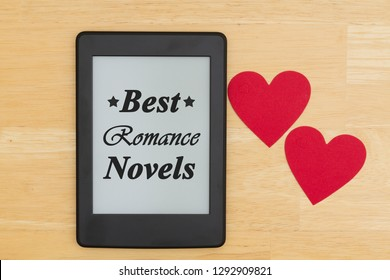 Best Romance Novels message, An e-reader on a desk with two hearts and text Best Romance Novels with stars