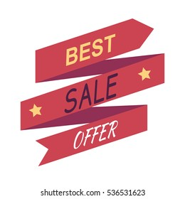Best sale offer. Abstract poster with stars. Advertising coupon. Universal discount.