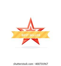 Best seller badge design flat. Retail emblem award, banner mark illustration