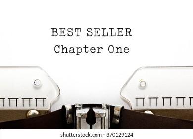 Best Seller Chapter One printed on retro typewriter. Bestseller concept.