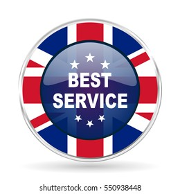 best service british design icon - round silver metallic border button with Great Britain flag