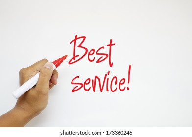 Best Service! sign on whiteboard