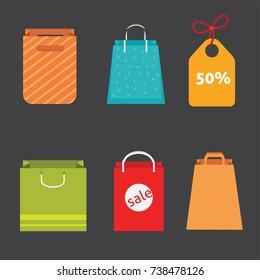 Best shopping with paper bags. Shop bag illustrtion