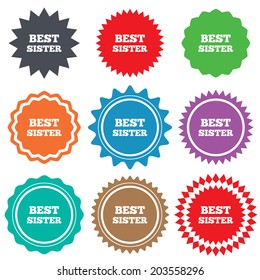 Best sister sign icon. Award symbol. Stars stickers. Certificate emblem labels.
