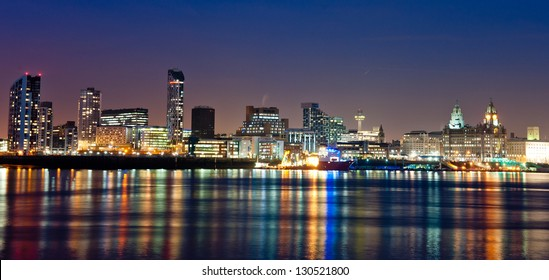 Best skyline in Britain reflecting on the river Mersey in Liverpool
