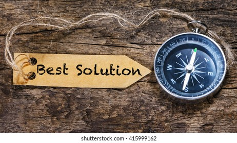 Best Solution - business concept handwriting on label with compass