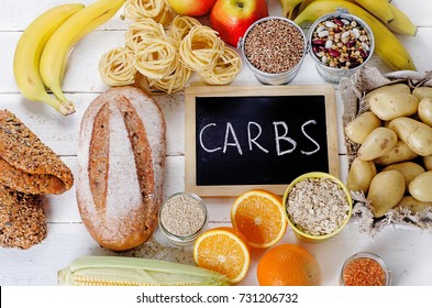 Best Sources of Carbs on a white wooden background. Top view