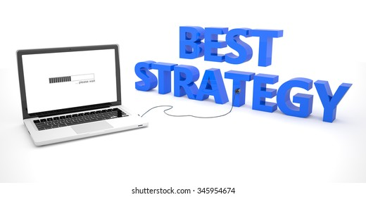 Best Strategy - laptop notebook computer connected to a word on white background. 3d render illustration.