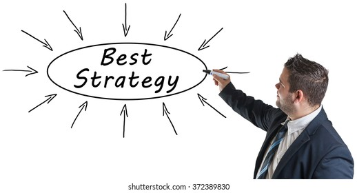 Best Strategy - young businessman drawing information concept on whiteboard.