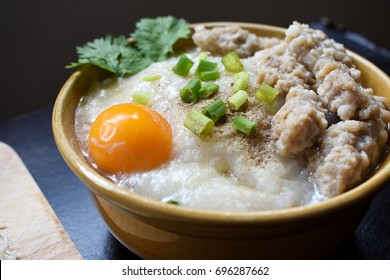 best of thai breakfast rice porridge with pork meatballs and egg,Thai style food in the morning