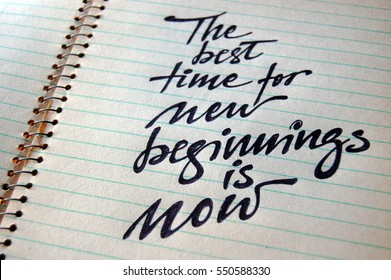 The best Time for New Beginnings is Now calligraphic background for your design