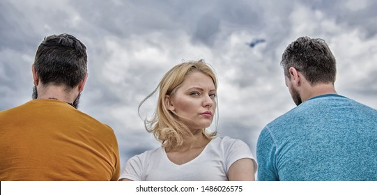 Best traits great boyfriend. Girl thinking whom she going ask dating. Everything need know about choosing right guy. Girl stand in front two faceless men. Pick better boyfriend. Hard decision for her.