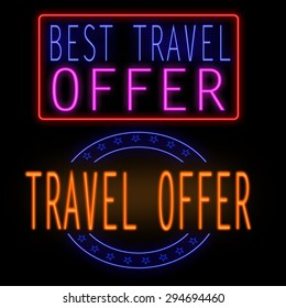 Best travel offer glowing neon sign on black background