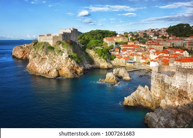 Best view of Dubrovnik - Fortresses Lovrijenac and Bokar seen from  old city walls . Croatia. South Dalmatia.