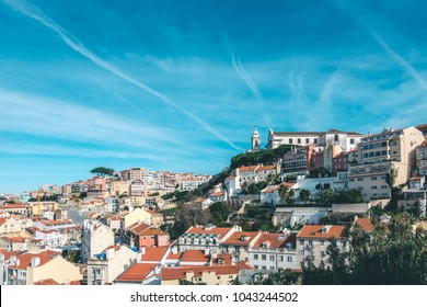 Best  view of Lisbon, Portugal. A spring sunny day. A view from the highest point.