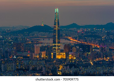 The best view of South Korea with Lotte world mall at night fog at Namhansanseong Fortress in Seoul,South Korea