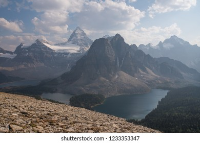 Best Wilderness Hikes with views of Mount Assiniboine (left Matterhorn imitation) and Sunburst Peak (right) and Lake Magog and Lake Cerulean and Lake Sunburst close to Banff Alberta Canada
