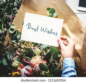 Best Wishes card with a flower bouquet