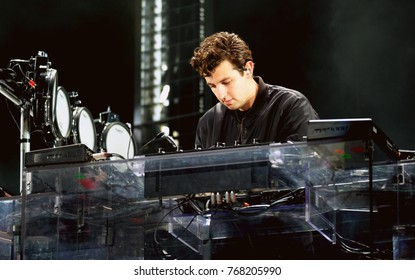 Bestival - 8th September, 2017: Keyboard player Jamie Smith with British band The XX performing at Bestival festival , Lulworth, Dorset 8 September 2017, UK