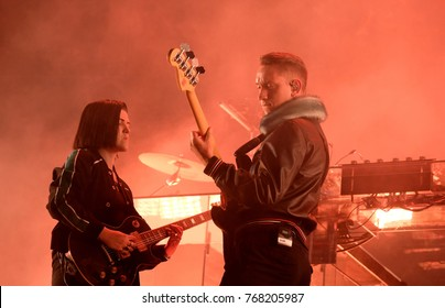 Bestival - 8th September, 2017: Romy Madley Croft  and Oliver Sim with British band The XX performing at Bestival festival , Lulworth, Dorset 8 September 2017, UK