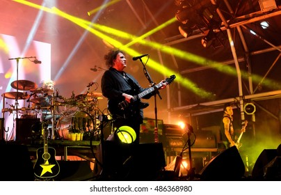 Bestival - September  10th 2016: Robert Smith with  British band The Cure performing live on the main stage at Bestival, Newport, Isle of Wight, September 10, 2016 on Isle of Wight, UK