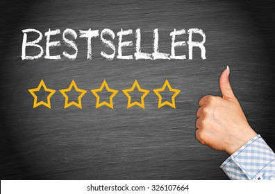 Bestseller - 5 golden stars with thumb up
