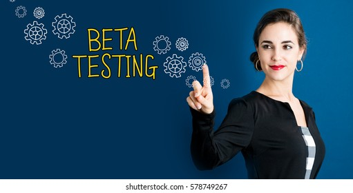 Beta Testing text with business woman on a dark blue background
