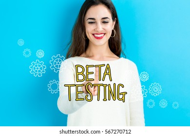 Beta Testing text with young woman on a blue background
