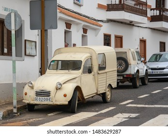 Betancuria, Fuerteventura, Canary islands / Spain - 11 29 2015: Beige 1974 Citroen 2CV AK 400 Fourgonette classic vehicle. A vintage french car on the street. Old retro automobile but still functional