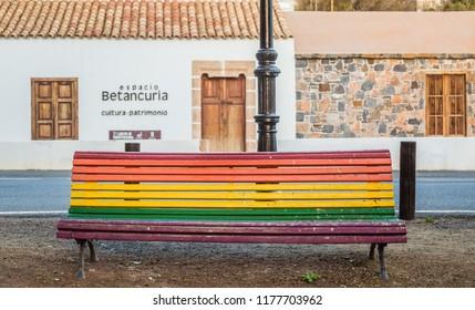 BETANCURIA, FUERTEVENTURA - FEBRUARY 17, 2018: Colurful park bench in Betancuria, Canary Islands, Spain.