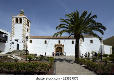 BETANCURIA,  FUERTEVENTURA, SPAIN - MARCH 30: Church of Saint Mary aka Iglesia de Santa Maria, landmark and tourist attraction in the village on Canary Island, on March 30, 2017 in Betancuria, Spain