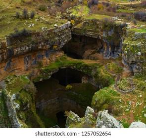 Betara gorge sinkhole shot during fall in mount Lebanon, Lebanon