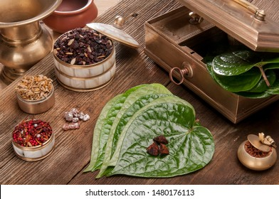 Betel leaf and the nuts necessary to make paan, a necessary and traditional intake after meal followed by Indians to boost digestion.