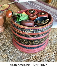 Betel Nut and Betel leaf with Equipment Tam Mak on Kantoke is Wooden Utensil in Thailand.