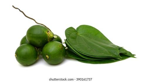 betel nut and betel leaf isolated on white background