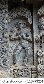 Bethala, , demon standing guard to Mata Kali at Lakshmi Narasimha Temple, Nuggehalli, Hassan District of Karnataka state, India. The temple was built in 1246 CE rule of Hoysala Empire.