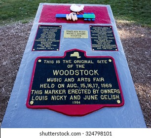 BETHEL, NEW YORK:  This marker on the site of the Woodstock Music Festival, held in Bethel, New York, 1969 with names of the acts that played there.  September 27, 2015