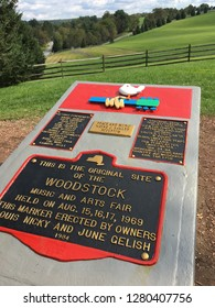Bethel, NY, USA September 19, 2018 A plaque marks the spot in Bethel, New York, where the famous Woodstock concert was held in 1969