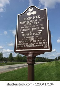 Bethel, NY, USA September 19, 2018 A plaque marked the entrance to Bretton Woods, a cultural center built on the site of the 1969 Woodstock concert in Bethel New York.