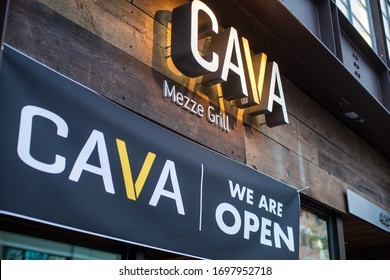 Bethesda, Maryland / USA - April 1, 2020:  Cava Group is a privately held restaurant chain founded in 2006 in Rockville, Maryland, by Ted Xenohristos, Chef Dimitri Moshovitis and Ike Grigoropoulos.