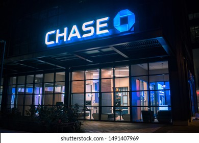 Bethesda, Maryland / USA - August 20, 2019: A brand new Chase bank and ATM opens up on Bethesda Row as part of its expansion in the Washington area.