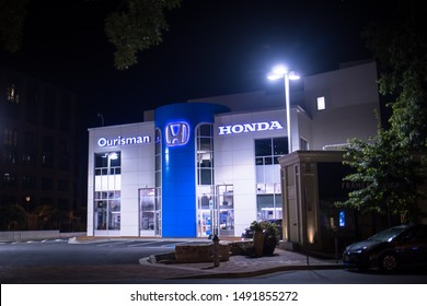 Bethesda, Maryland / USA - August 20, 2019: Ourisman Honda is centrally located on Bethesda row, selling new and used cars and taking service requests from existing car owners.