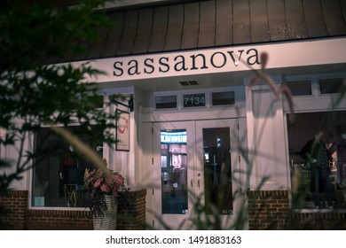 Bethesda, Maryland / USA - August 20, 2019: The Sassanova women's clothing store on Bethesda Lane closes at the end of the day before the weekend.
