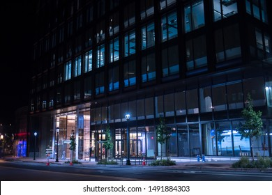 Bethesda, Maryland / USA - August 20, 2019: A new building next to the Chase bank opens up on Bethesda Avenue after months of construction accompanied by road closures and noise.