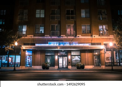 "Bethesda, Maryland / USA - August 20, 2019: ""Upstairs at Bethesda Row"" is a building of luxury apartments with concierge services, high end amenities and a convenient location in downtown."